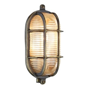 Oval Antique Brass Bulk Head Wall Light