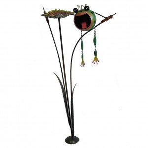 Painted Frog & Lily Pad Garden Spike