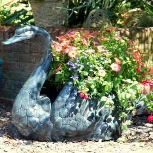 Swan Flower Planter in a Pale Verdigris Finish