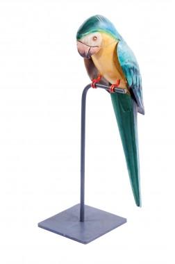 """Rocco"" Parrot on a Perch Sculpture"