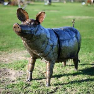 Recycled Metal Pig BBQ Sculpture