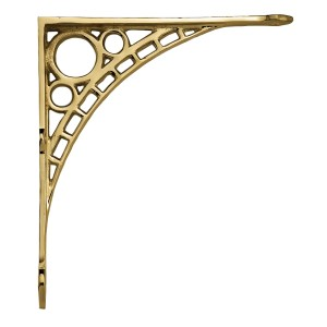 "Large Polished Brass ""Iron Bridge"" Shelf Bracket 33 x 33cm"