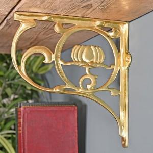 """""""Lotus Flower"""" Brass Shelf Bracket 25 x 23cm"""