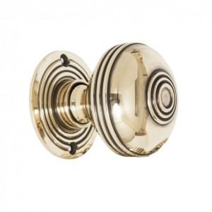 Polished Brass Ridged Door Handle Set