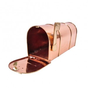 Polished Copper and Brass American Style Mail Box with Ridge Detail