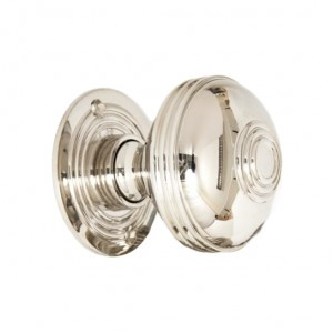 Polished Nickel Ridged Door Knob Set