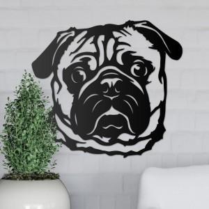 Metal Pug Wall Art on a Grey Wall