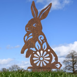 Rustic Floral Rabbit Sculpture