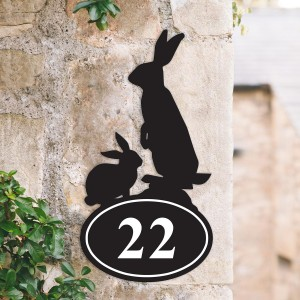 Bespoke Rabbit  Iron House Number Sign in Situ