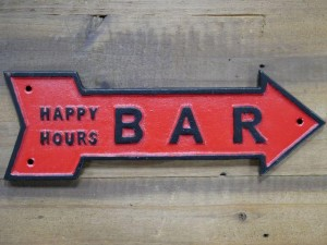 """""""Happy Hours"""" Red Iron Bar Sign"""