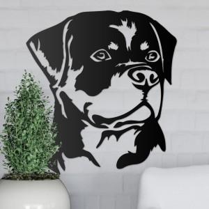 Metal Rottweiler Wall Art on a Grey Wall