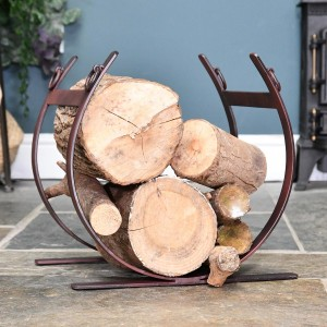Rustic Blacksmith Log holder in Situ By the Fire Place