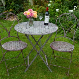 Round Table Set Finished in a Rustic Pink Colour