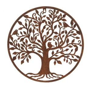"""Tree of Life"" Bird Wall Art in a Rustic Finish"