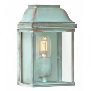 """Heathfield"" Classic Brass Half Wall Lantern In A Verdigris Finish"