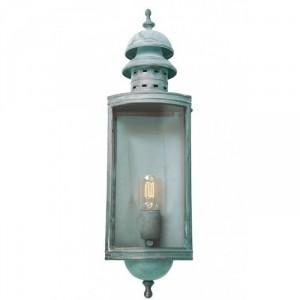 """Elmslea"" Large Brass Half Wall Lantern in Verdigris"