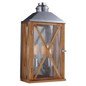 """Sandford"" Natural Wood Hand-Crafted Wall Lantern"