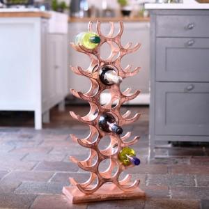 Copper 21 Bottle 'Tree' Wine Rack in Kitchen Setting