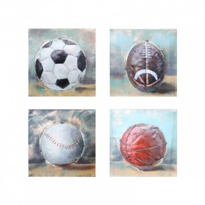 Set of Four Sport Balls 3D Wall Art