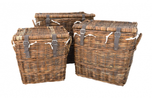 Set of Three Wicker Log Baskets with Leather Straps
