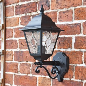 Traditional Black Bottom Fix Wall Lantern in  Situ on a Brick Wall