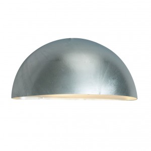 Silver Finish Galvanised Steel Crescent Down Wall Light