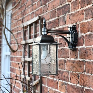 Silver Top Fix Hanging Wall Lantern in Situ