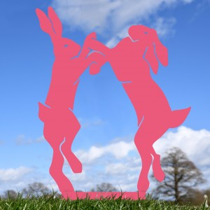 Pink Simplistic Boxing Hares Silhouette