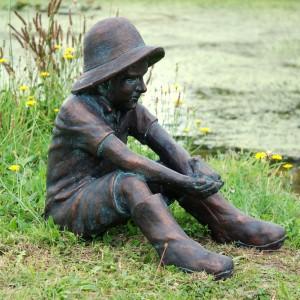 Sitting Boy & Frog Garden Sculpture