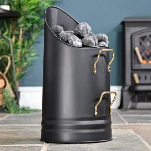 Sleek Black Coal Hod with Brass Handles