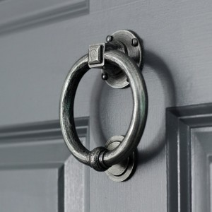 Slim Antique Pewter Ring Door Knocker