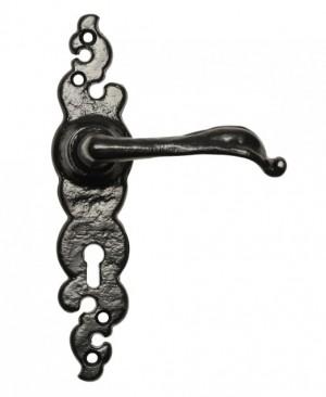 """""""Helmford"""" Slim Black Ornate Iron Door Handles"""