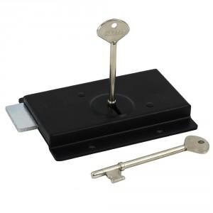 Slim Black Left Hand Rim Lock
