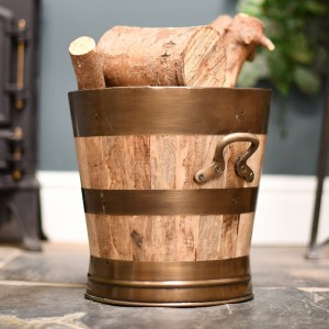 Wooden & Bronze Barrel Design Log Holder in Situ