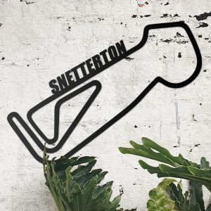 Snetterton Race Track on Display on a Rustic White Wall