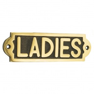 Solid Brass Ladies Bathroom Sign