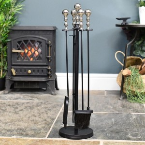 Traditional Companion Set Finished in Nickel and Black Powder Coat