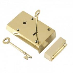 Left-Handed Polished Brass Rim Lock