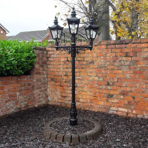 Triple Headed Harrogate Lamp Post set in Walled Garden