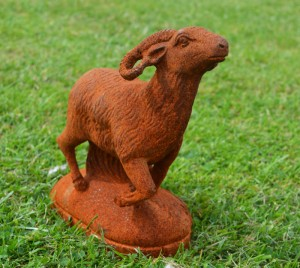 """Alarama"" Cast Iron Ram Sculpture On Base"