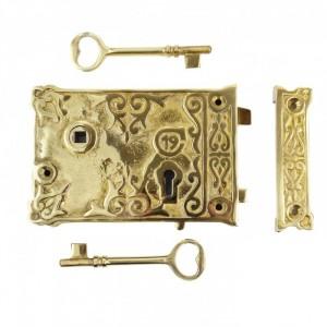 Brass Ornate 20th Century Rim Lock