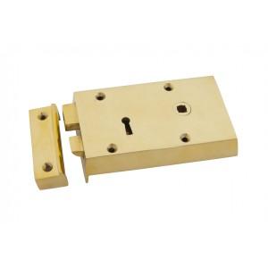 Right Hand Polished Brass Rim Lock - Small