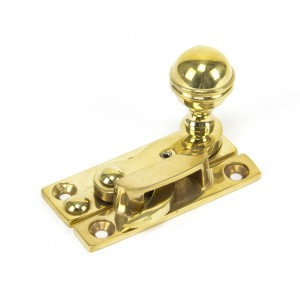 Hook Sash Fastener with Key Polished Brass