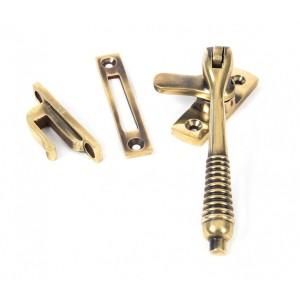 Reeded Window Fastener - Lockable  Aged Brass