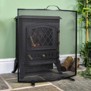 """Rowscroft"" Black Curved Custom Fire Screen"