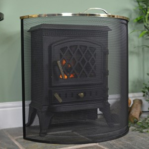 Rounded Fire Screen With Polished Brass Trim