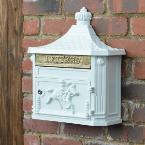 White Huntingdon Post box mounted on wall