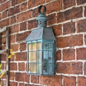 """Tawsden Cove"" Verdigris Search Light Inspired Wall Lantern"