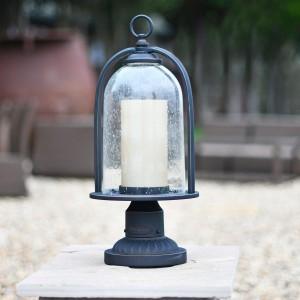 Beautiful bell shaped garden light on brick pillar
