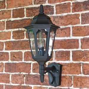 Large Bottom Fix Black Wall Lantern on Brick Wall